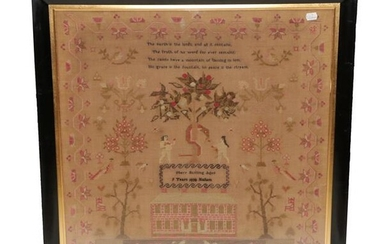 An Adam and Eve Sampler Worked by Mary Bunting aged...