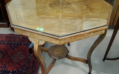 An Edwardian rosewood inlaid octagonal occasional table with...