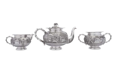 An early 20th century Anglo – Indian unmarked silver three-piece tea service, Calcutta circa 1910