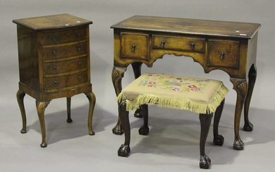 An early 20th century Queen Anne style walnut kneehole dressing table, height 76cm, width 91.5cm, de
