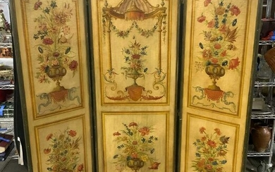 Antique Hand Painted French Room Screen