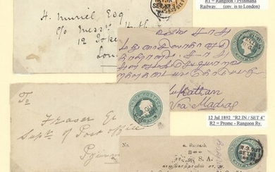 Burma Travelling Post Offices 1892-1938 envelopes (9), stationery envelopes (15) and cards (3),...