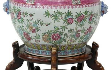 CHINESE FAMILLE ROSE PORCELAIN FISHBOWL ON STAND