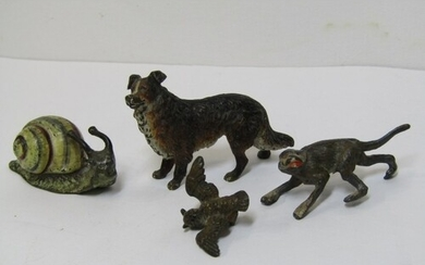 COLD PAINTED BRONZE ANIMALS, collection of 4 miniature figur...