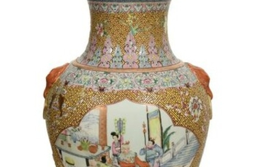 Chinese Famille Rose Floor Vase, Late 19th Century