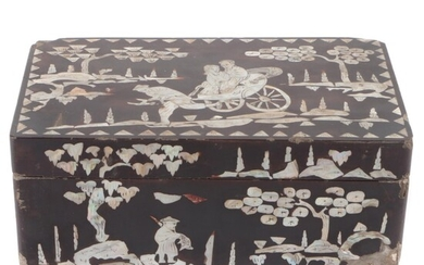 Chinese Style Lacquerware Box with Mother-of-Pearl Inlay
