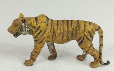 Cold painted cast bronze figure of a tiger