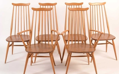 Ercol: a set of six light beech and elm 'Goldsmith Windsor' dining chairs.