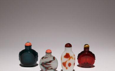 FOUR CHINESE GLASS SNUFF BOTTLES