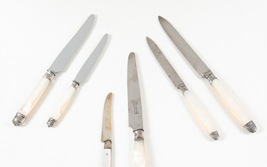 Four Cased Sets of French Mother-of-pearl Knives