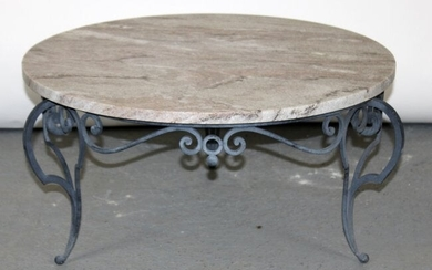 French wrought iron cocktail table with marble top