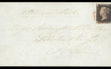 Great Britain 1840 One Penny Black Plate III MG small to large margins all round, tied by red M...