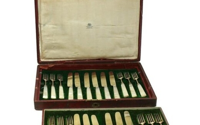 Joseph Rodgers & Son Sterling & MoP Fish Fork Service