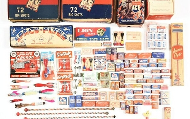 LARGE LOT OF EARLY CAP BOMBS, CAPS, AND FIREWORK TOYS.