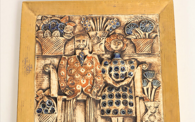 """LISA LARSON. b 1931, wall relief, stoneware with gold decoration, """"Jubilee"""", Gustavsberg."""