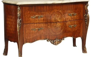 LOUIS XV STYLE MARBLE-TOP MARQUETRY COMMODE