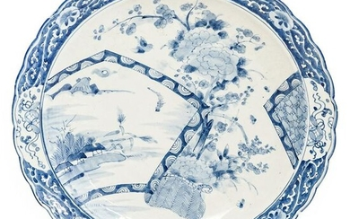 Large Chinese Blue & White Porcelain Charger Plate
