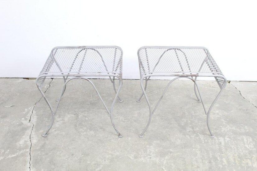 Pair Silver Painted Metal Garden Patio Stools/ Tables
