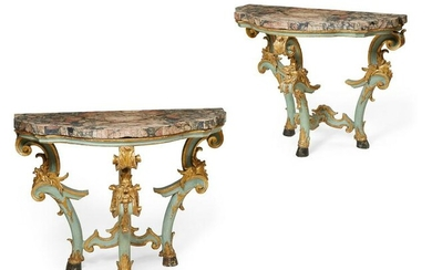 Pair of Italian Rococo blue painted console tables