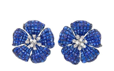Pair of White Gold, Invisibly-Set Sapphire and Diamond