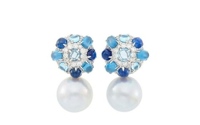 Pair of White Gold, South Sea Cultured Pearl, Gem-Set