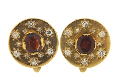 Pair of continental unmarked gold diamond and garnet clip on...