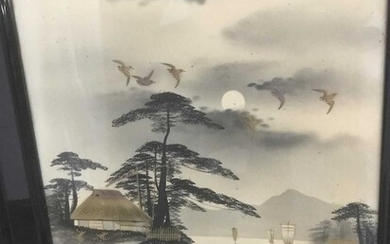 Pair of early 20th century Japanese ink and gold paint lake landscapes, signed, 41cm x 29cm, in glazed ebonised frames