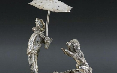 Rare and large toothpick holder in Silver - Goat - .833 silver - Portugal - Late 19th century
