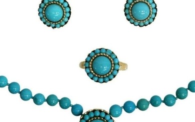 (SET) ESTATE 14KT YELLOW GOLD & TURQUOISE JEWELRY
