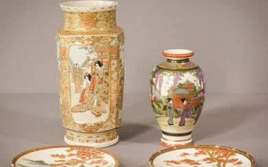 Selection of Two Signed Fine Satsuma seperate vases and