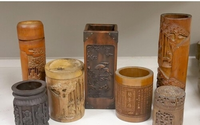 Three Chinese carved bamboo tea caddies and four carved bamb...