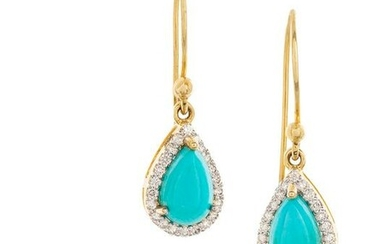 Turquoise and Diamond Ring and Earrings