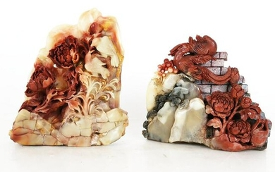 Two Chinese Carved Hardstone Groups
