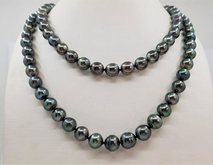 United Pearl - 8.5x11mm peacock Green - 14 kt. Gold, Tahitian pearls - Necklace