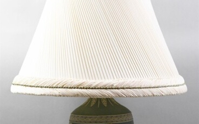 WEDGWOOD GREEN AND WHITE JASPER LAMP, NOW CONVERTED TO A TABLE LAMP