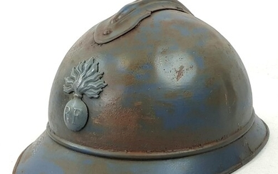 WW1 French M15 Adrian Helmet. Badged to the Infantry, No Lin...