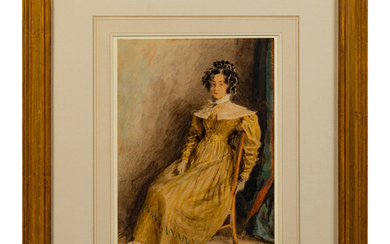 A Lady in a Yellow Dress Seated in a Chair