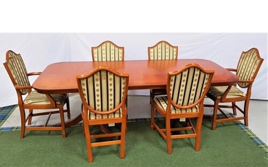 YEW AND CROSSBANDED DINING TABLE AND SIX CHAIRS the table wi...