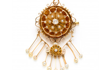 Yellow gold old mine diamond and pearl stylized flower brooch/pendant finished with a graduated pearl fringe, g 20.13 circa, length…Read more