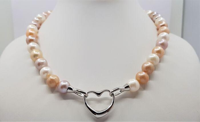 11x12mm Multi Cultured Pearls - 925 Silver - Necklace