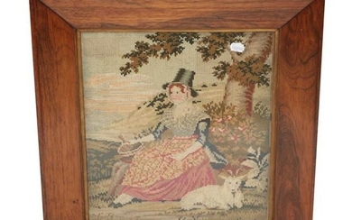 19th Century Wool Work Picture of a Seated Lady in...