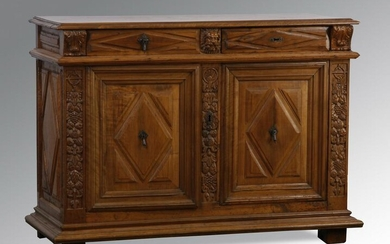 19th c. French carved walnut buffet