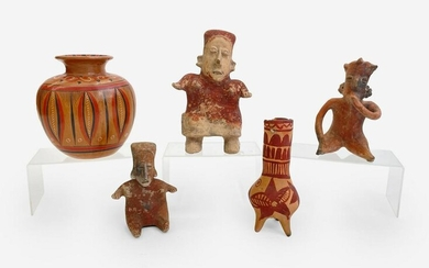 3 Pre-Colombian figures with 2 Mexican vessels