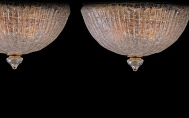 (-), 3 clear glass ceiling lamps in the...