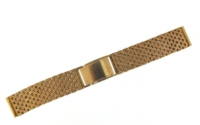 9ct gold watch strap, 15cm in length when closed, 1.7cm wide...