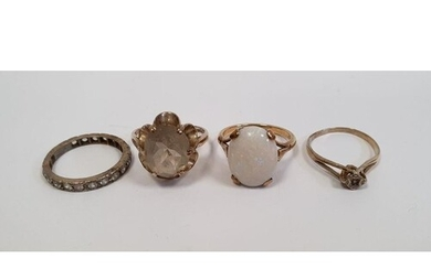 9ct gold white opal set ring, a 9ct gold and single solitair...