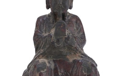 A CHINESE RED LACQUER BRONZE SCULPTURE. EARLY 20TH CENTURY.