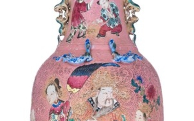 A Chinese famille rose on pink sgraffito ground...