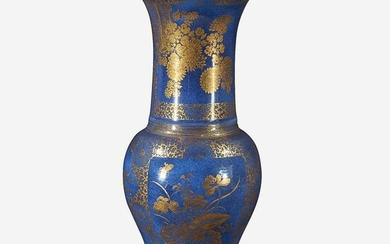 A Chinese gilt-decorated powder blue porcelain vase