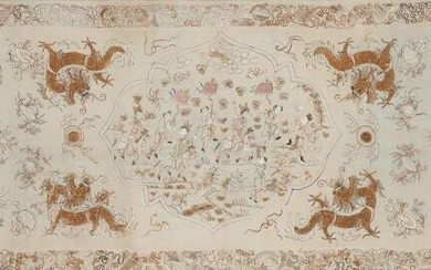 NOT SOLD. A Chinese silk textile, richely embroidered with figures and fabulous monsters. C. 1900. 48 x 139 cm. – Bruun Rasmussen Auctioneers of Fine Art